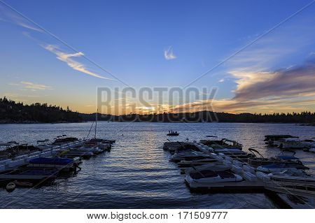 Boats At Arrowhead Lake Harbor During Sunset Time