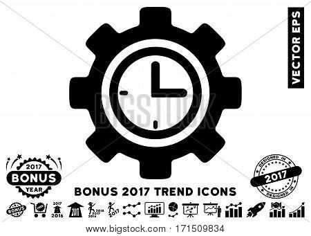 Black Time Setup Gear pictograph with bonus 2017 year trend clip art. Vector illustration style is flat iconic symbols white background.