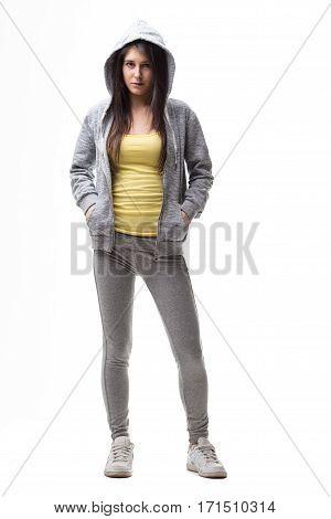 Standard Studio Portrait Of A Woman In Tracksuit