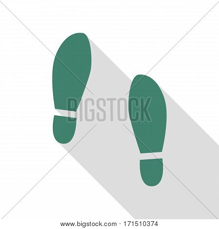 Imprint soles shoes sign. Veridian icon with flat style shadow path.