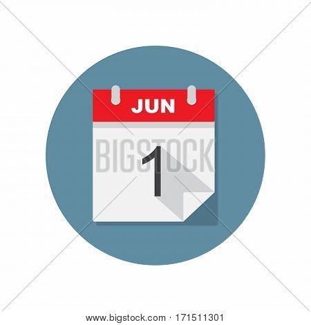 Jun 1 calendar icon. Vector illustration on circle blue background