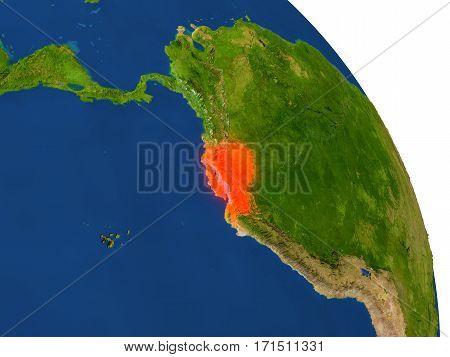 Map Of Ecuador In Red