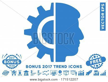 Cobalt Android Robotics pictograph with bonus 2017 trend icon set. Vector illustration style is flat iconic symbols white background.