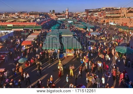 Marrakesh, Morocco, February 4, 2017: ON the Jemaa el-Fna Square at Marrakesh in Morocco.