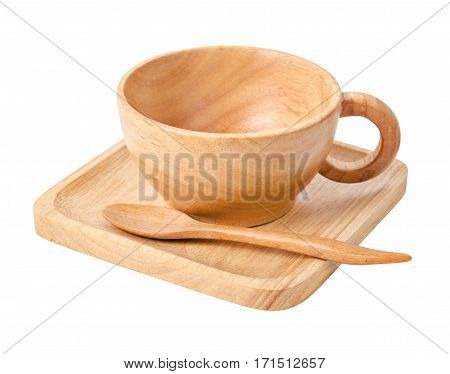 Set of wooden cup for hot coffee isolated on white background Saved clipping path.