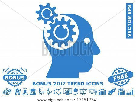 Cobalt Brain Gears Rotation pictograph with bonus 2017 trend icon set. Vector illustration style is flat iconic symbols white background.