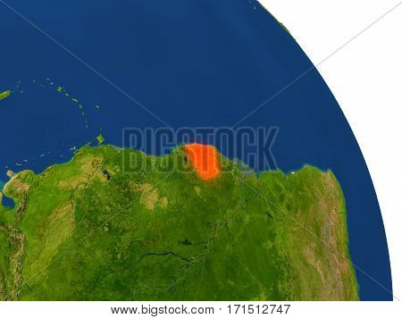 Map Of French Guiana In Red