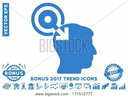 Cobalt Brain Interface Plug-In pictograph with bonus 2017 year trend icon set. Vector illustration style is flat iconic symbols white background.