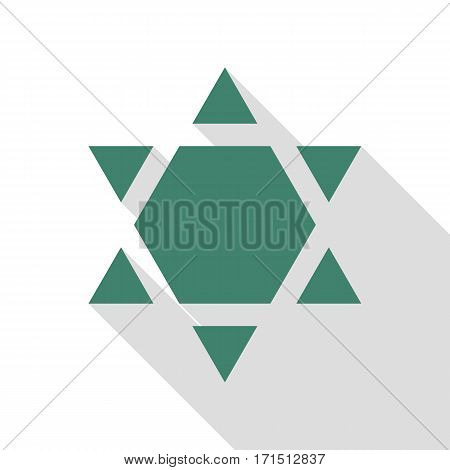 Shield Magen David Star Inverse. Symbol of Israel inverted. Veridian icon with flat style shadow path.