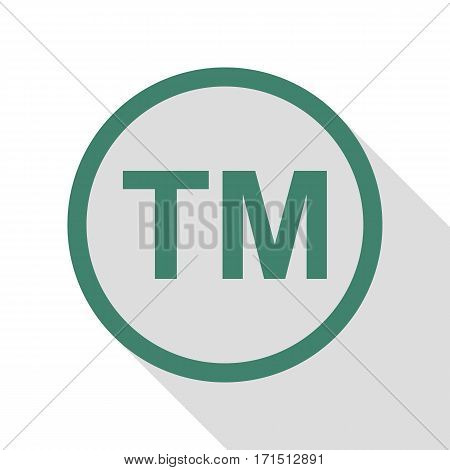 Trade mark sign. Veridian icon with flat style shadow path.