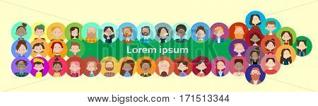 Arrow Group Casual People Big Crowd Diverse Ethnic Mix Race Banner Flat Vector illustration