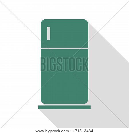 Refrigerator sign illustration. Veridian icon with flat style shadow path.