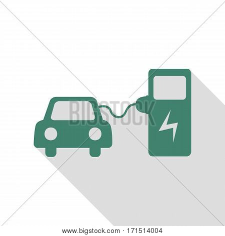 Electric car battery charging sign. Veridian icon with flat style shadow path.