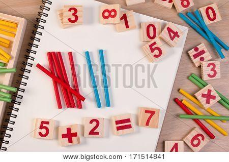 Educational Kids Math Toy Wooden Board Stick Game Counting Set In Kids Math Class Kindergarten. Math