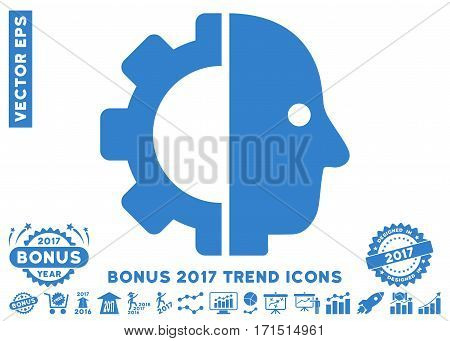 Cobalt Cyborg Head pictogram with bonus 2017 year trend symbols. Vector illustration style is flat iconic symbols white background.