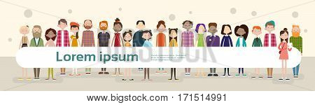 Group Casual People Big Crowd Diverse Ethnic Mix Race Banner Flat Vector illustration