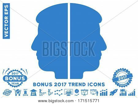 Cobalt Dual Face pictograph with bonus 2017 year trend pictograms. Vector illustration style is flat iconic symbols white background.