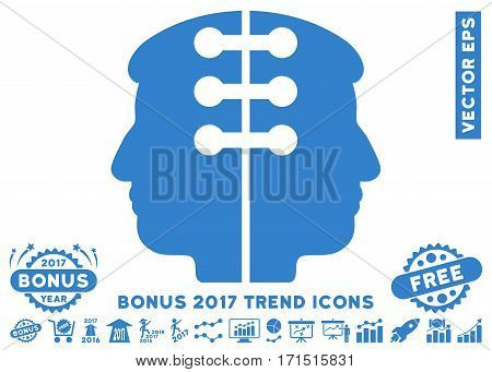 Cobalt Dual Head Interface pictogram with bonus 2017 trend pictograms. Vector illustration style is flat iconic symbols white background.