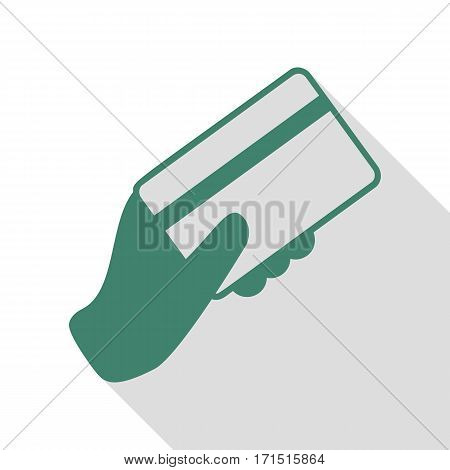 Hand holding a credit card. Veridian icon with flat style shadow path.