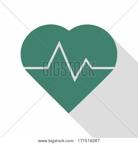 Heartbeat sign illustration. Veridian icon with flat style shadow path.