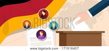 German democracy political process selecting president or parliament member with election and referendum freedom to vote vector