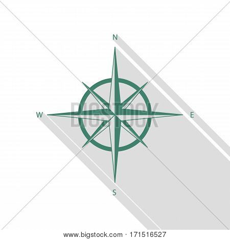 Wind rose sign. Veridian icon with flat style shadow path.