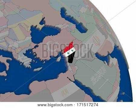 Syria With Flag On Globe