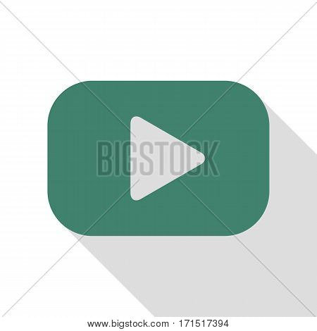 Play button sign. Veridian icon with flat style shadow path.