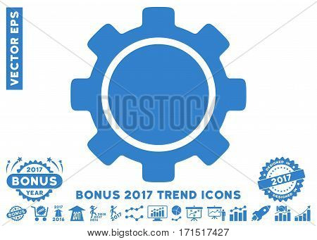 Cobalt Gear pictograph with bonus 2017 year trend pictograph collection. Vector illustration style is flat iconic symbols white background.