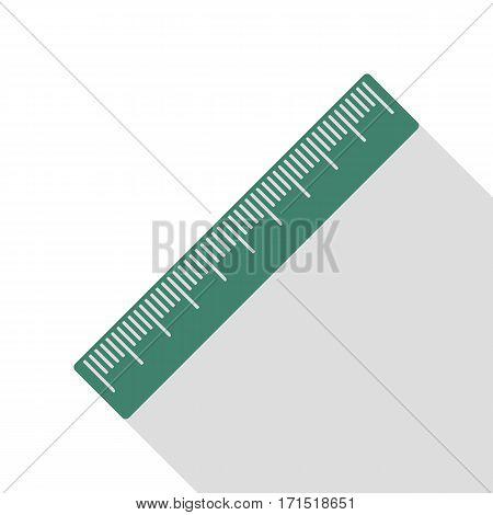 Centimeter ruler sign. Veridian icon with flat style shadow path.