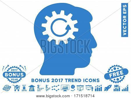 Cobalt Head Gear Rotation pictogram with bonus 2017 year trend icon set. Vector illustration style is flat iconic symbols white background.