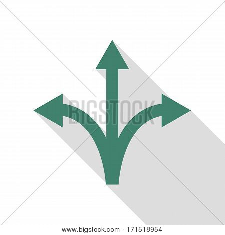 Three-way direction arrow sign. Veridian icon with flat style shadow path.