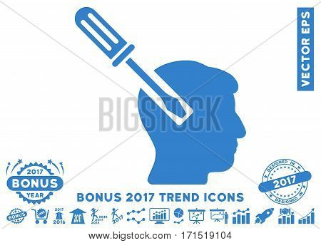 Cobalt Head Screwdriver Tuning pictograph with bonus 2017 trend symbols. Vector illustration style is flat iconic symbols white background.