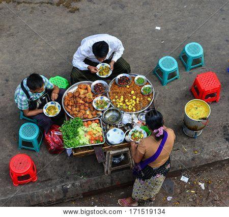 Vendor On Main Street In Yangon, Myanmar