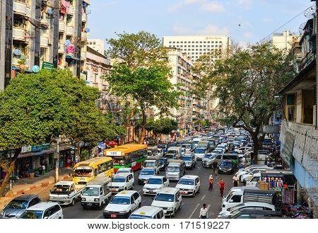 Cars On Main Street In Yangon, Myanmar