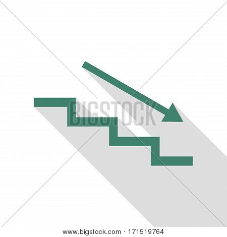 Stair down with arrow. Veridian icon with flat style shadow path.