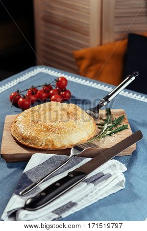 Pie with meat, homemade cakes. Advertising shooting menu