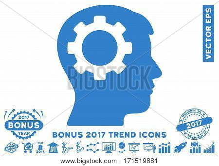 Cobalt Intellect Gear icon with bonus 2017 trend pictograph collection. Vector illustration style is flat iconic symbols white background.