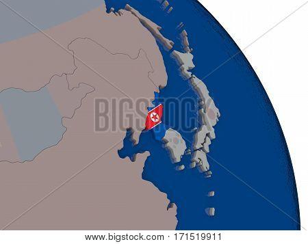 North Korea With Flag On Globe