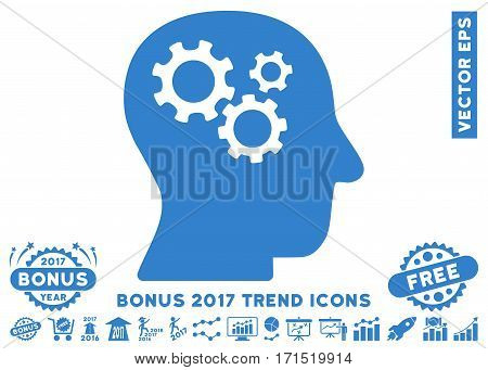 Cobalt Intellect Gears pictogram with bonus 2017 year trend pictures. Vector illustration style is flat iconic symbols white background.