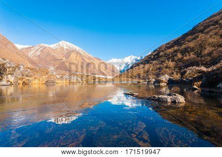 Langtang Himalayas Mountain Range Frozen Pond H