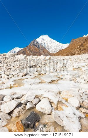 Langtang Lirung Himalayas Mountain Icy River V