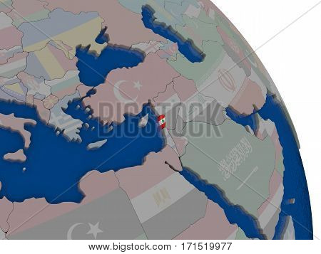 Lebanon With Flag On Globe