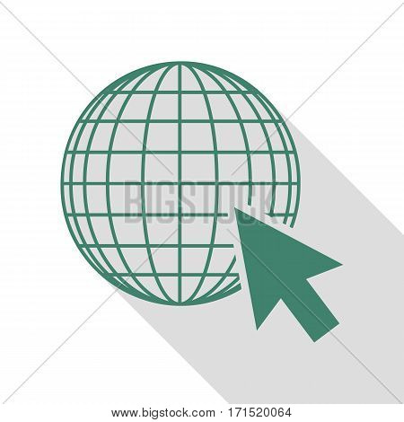 Earth Globe with cursor. Veridian icon with flat style shadow path.