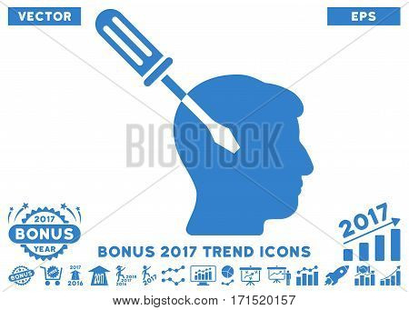 Cobalt Intellect Screwdriver Tuning pictogram with bonus 2017 trend pictograph collection. Vector illustration style is flat iconic symbols white background.