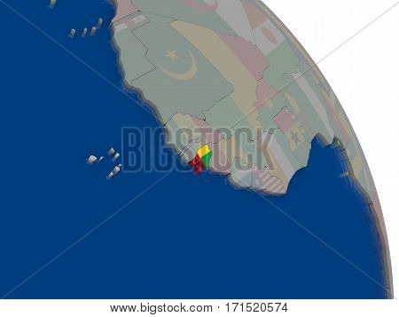 Guinea-bissau With Flag On Globe