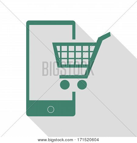 Shopping on smart phone sign. Veridian icon with flat style shadow path.