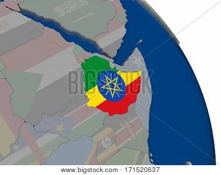 Ethiopia With Flag On Globe