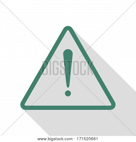 Exclamation danger sign. Flat style. Veridian icon with flat style shadow path.