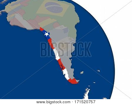 Chile With Flag On Globe